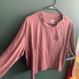 Pink Victoria's Secret Long Sleeve Cropped T Shirt